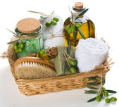 Spa and aromatherapy set  of olive — Stock Photo