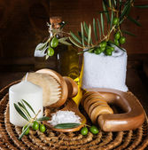 Spa and wellness setting with olive fruits — Stock Photo