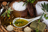 hygiene items for bath and spa of olive — Stock Photo