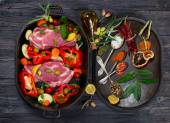 Raw pork meat and fresh vegetables, spices — Stock Photo