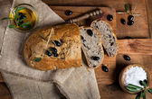 Sliced homemade olive bread, top view — Stock Photo