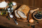 Ingredients for making bread with olives — Stock Photo