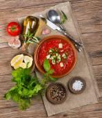 Fresh tomato soup — Stock Photo