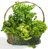 Raw lettuce and celery in a basket — Stock Photo
