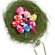 Shot from above easter eggs, decorated a ribbons with a bow in a — Stock Photo #67011403