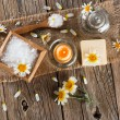 View from above of spa with products of chamomile — Stock Photo #67662783