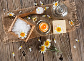 View from above of spa with products of chamomile — Stock Photo