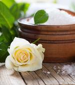 Box of luxury sea salt with rose - beauty treatment — Stock Photo