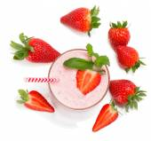 Strawberry smoothie, view from above. — Stock Photo