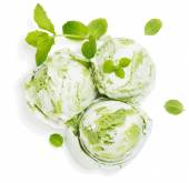 Mint or Kiwi Ice Cream, view from above — Stock Photo