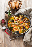 Spanish Traditional Seafood Paella — Stock Photo