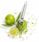 Lime zesting, view from above — Stock Photo