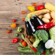 Composition with variety of fresh organic vegetables, view from — Stock Photo #77390550