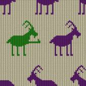 Knitted seamless pattern with goat — Wektor stockowy