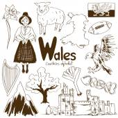 Collection of Wales icons — Stock Vector