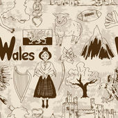 Sketch Wales seamless pattern — Stock Vector