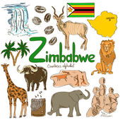 Collection of Zimbabwe icons — Stock Vector
