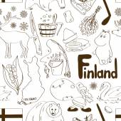 Sketch Finland seamless pattern — Stock Vector