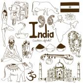 Collection of India icons — Stock Vector