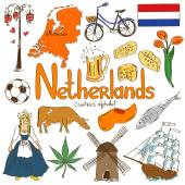 Collection of Netherlands icons — Stock Vector