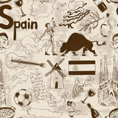 Sketch Spain seamless pattern — 图库矢量图片