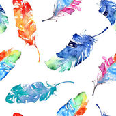 Seamless pattern with watercolor feathers — Stok Vektör