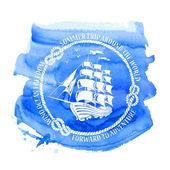 Nautical emblem with sailing ship — Stock Vector