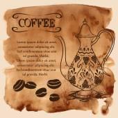 Potenciômetro do café sobre um fundo aquarela — Vetor de Stock