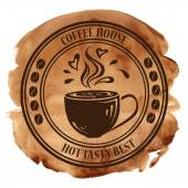 Coffee house stamp on a watercolor background — Stock Vector