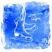 Figure skates on a watercolor background — Stock Vector