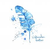 Isolated blue watercolor feather — Stock Vector