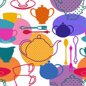 Seamless pattern of tea set dishes — Stock Vector