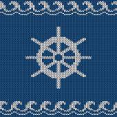 Knitted seamless pattern with sea wheel — Vetorial Stock