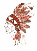 Watercolor Native American Indian chief  — Stock Vector