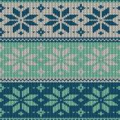 Seamless knitted pattern with snowflakes — Stock Vector