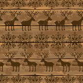 Patrón sin fisuras de Navidad con ciervos y copos de nieve — Vector de stock