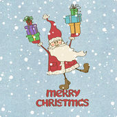 Santa Claus and presents — Stock Vector