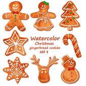 Watercolor Christmas gingerbread cookies — Stockvector