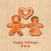 Christmas greeting card with gingerbread cookies — Stockvector