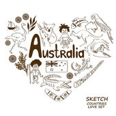 Australian symbols in heart shape concept. — Stock Vector