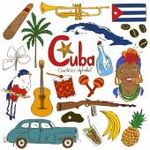 Collection of Cuban icons — Stock Vector