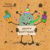 Birthday card with funny monster — Stock Vector