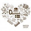 Danish symbols in heart shape concept — Stock Vector #60641439