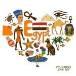 Egyptian symbols in heart shape concept — Stock Vector #60641445