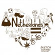 Netherlands symbols in heart shape concept — Vetor de Stock  #60641555