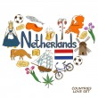 Netherlands symbols in heart shape concept — Vetor de Stock  #60641557