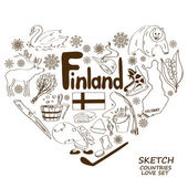 Finland symbols in heart shape concept — Stock Vector