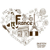 French symbols in heart shape concept — Stock Vector