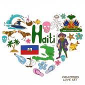 Haitian symbols in heart shape concept — Stock Vector