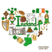 Heart shape concept of Irish symbols — Stock Vector